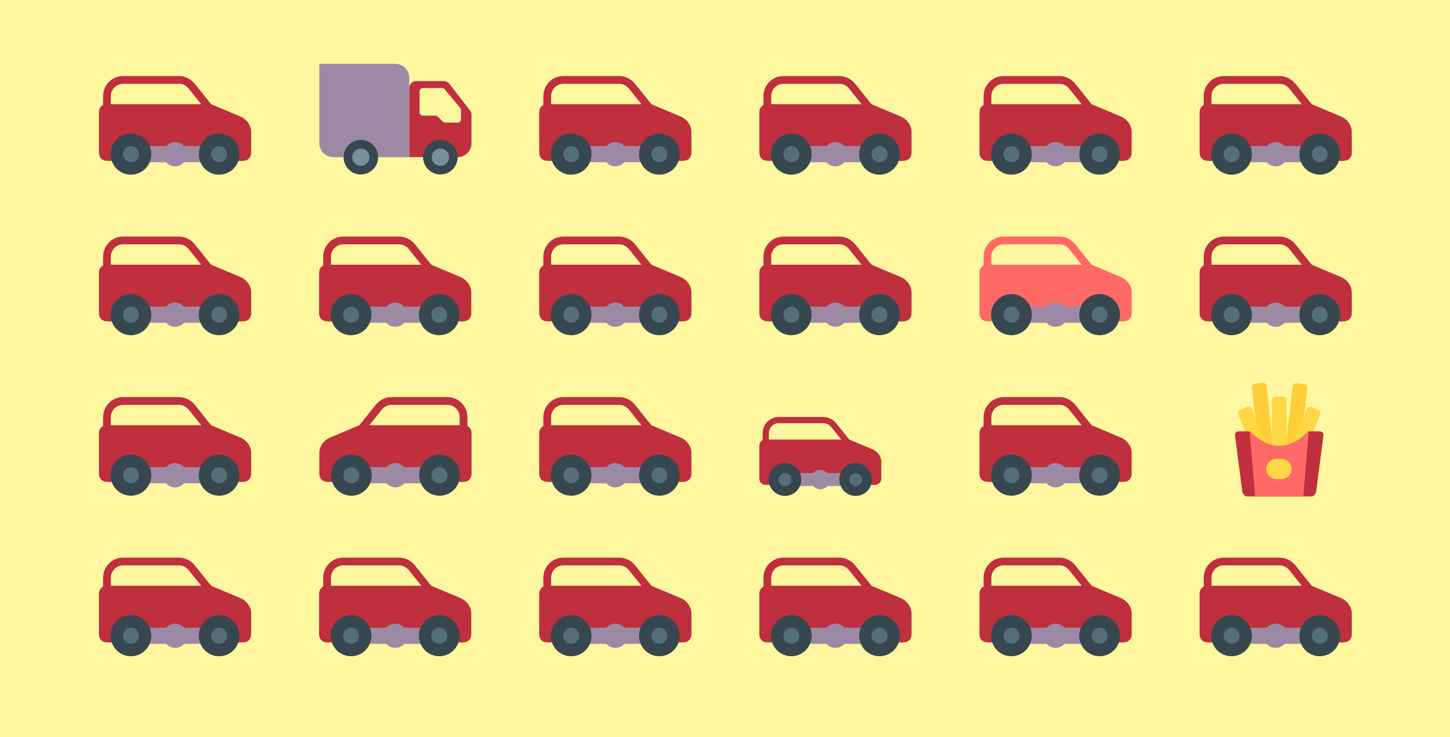 Illustration depicting a grid of cars, some being modified slightly in size, color, position, etc.