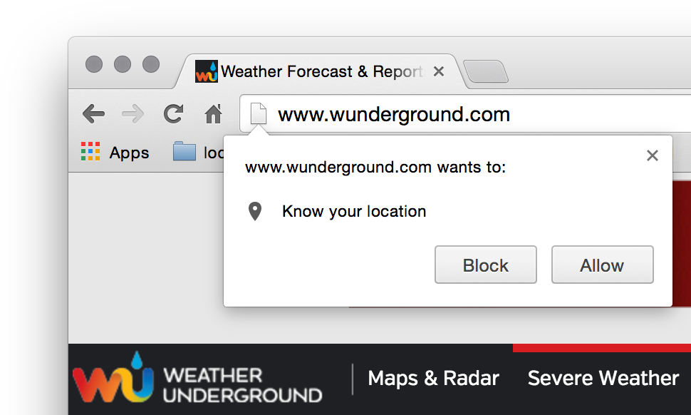 Chrome screenshot with geolocation notification prompt