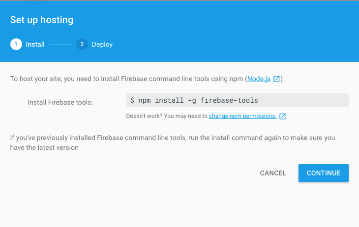 Run the command to install firebase-tools (You don't need to type the $)