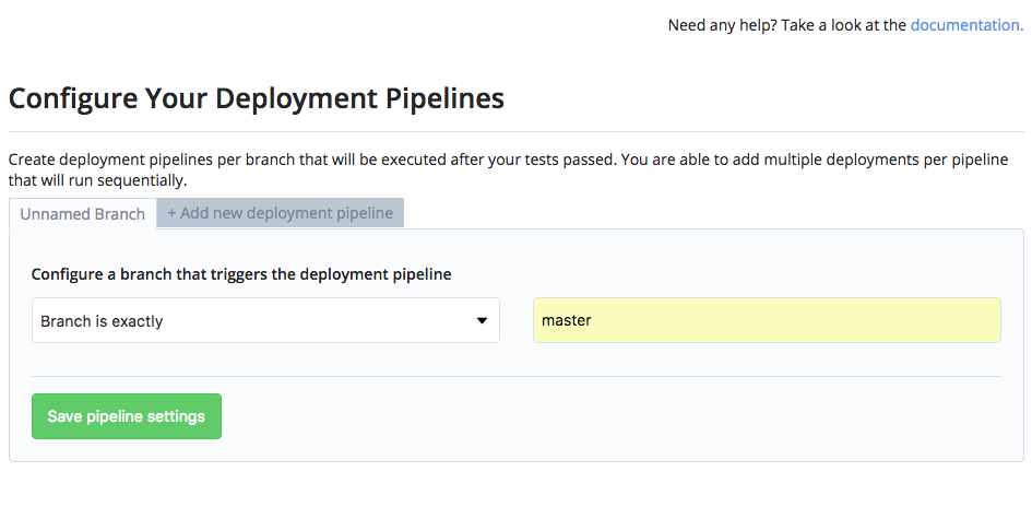 The deployment pipeline branch should be master.