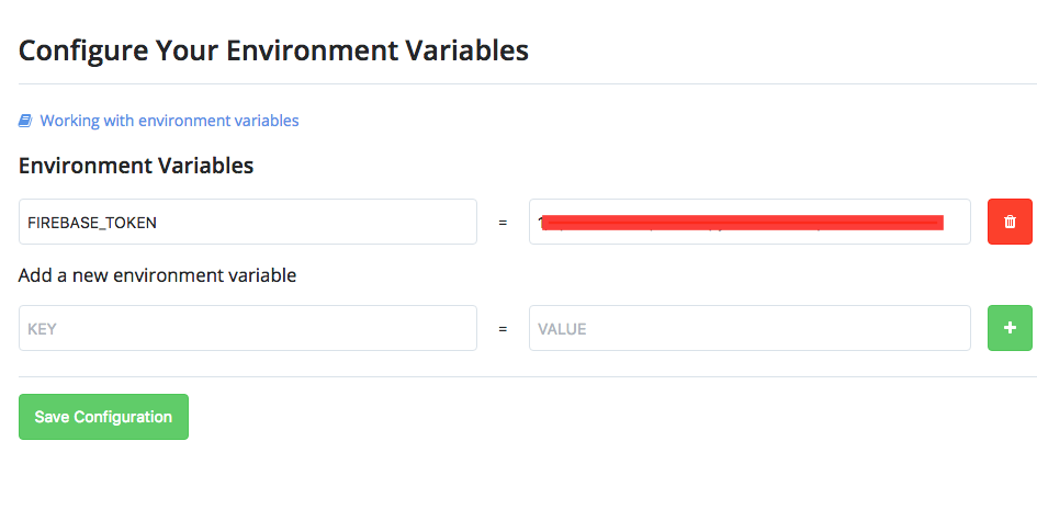 Add the environment variable to enable Codeship to deploy to Firebase