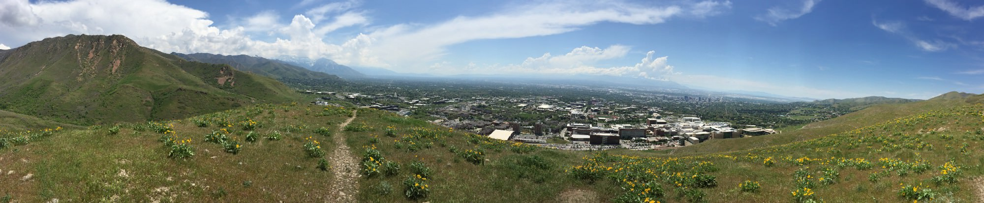 A panoramic view of Salt Lake City from the foothills of the Wasatch Range.