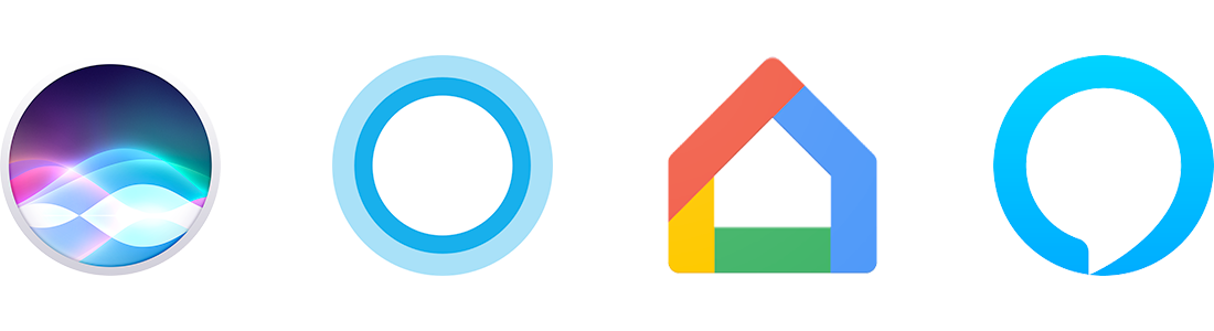 Logos for Apple Siri, Microsoft Cortana, Google Home, and Amazon Alexa