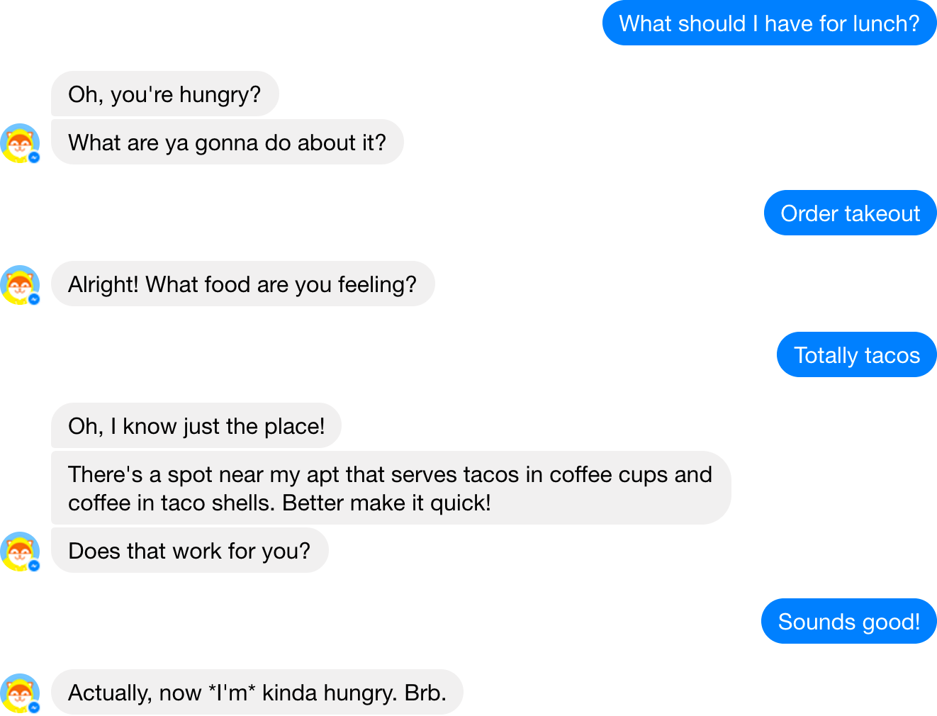Screenshot of a conversation between a human and the Poncho chatbot