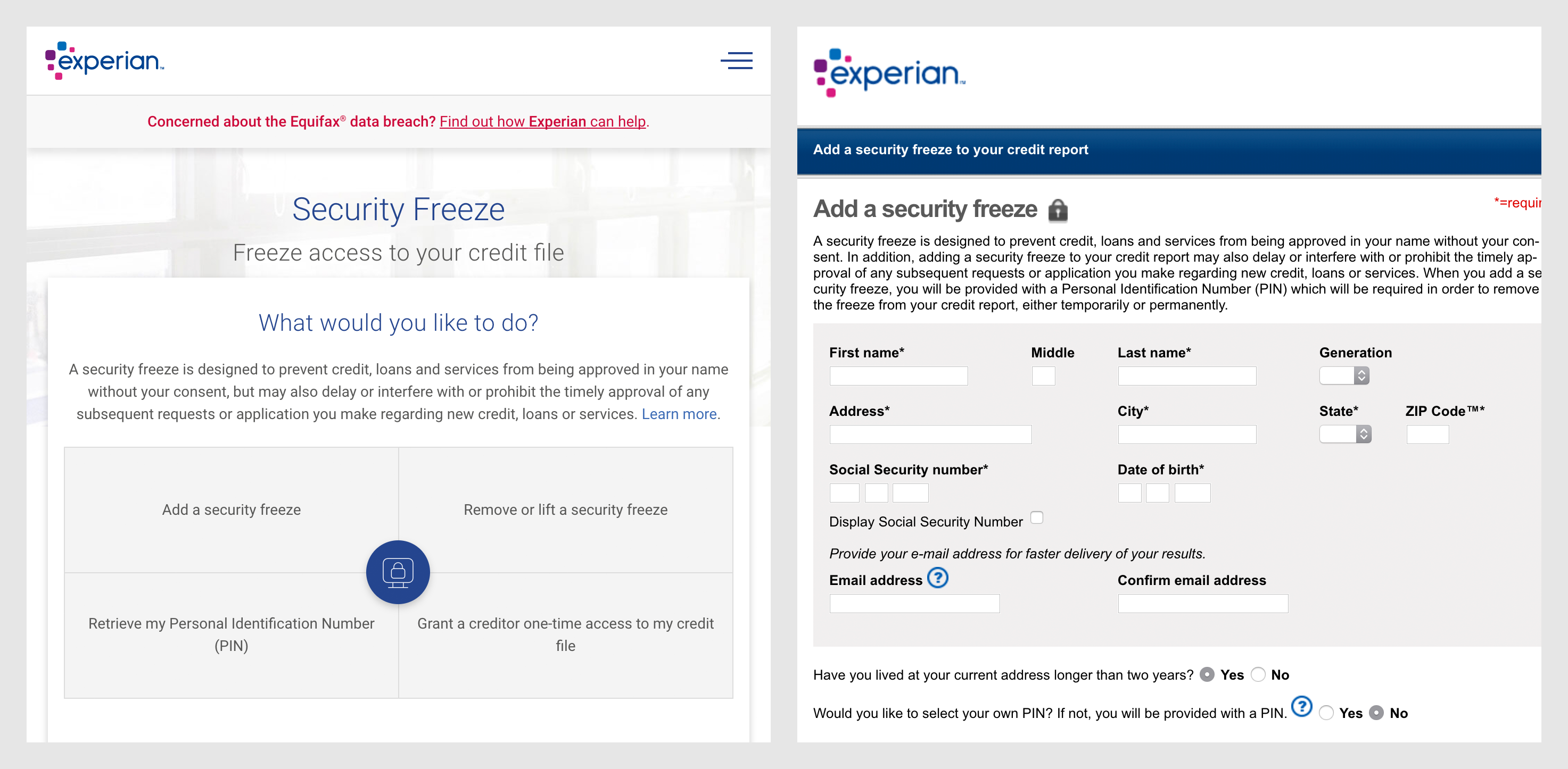 A side by side comparison of screenshots of Experian's homepage and Credit Freeze request form.