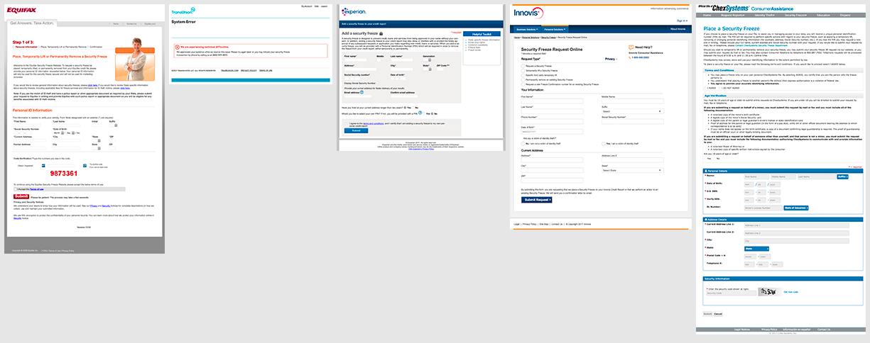 Screenshots of the first page for initiating a Credit Freeze for the five credit monitoring services.