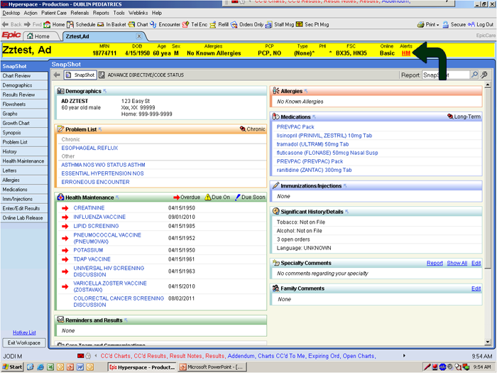 Screen of hospital's patient software