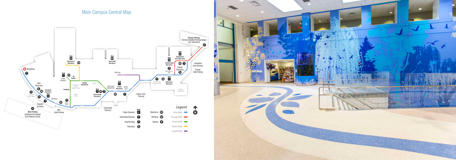 Picture of Nationwide Children's Hospital wayfinding guide.