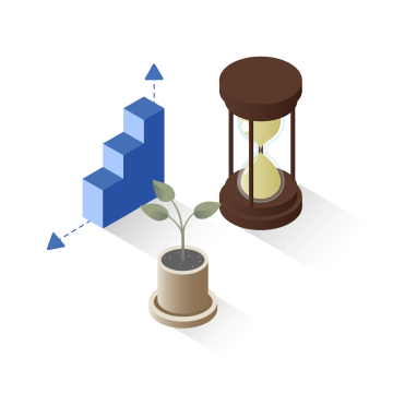 3d bar graph with hourglass and growing plant