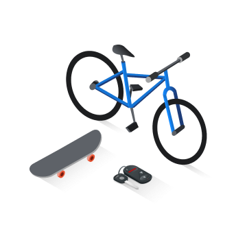 Bicycle with skateboard and car keys