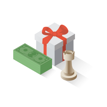 Stack of dollar bills with a gift box and chess playing piece