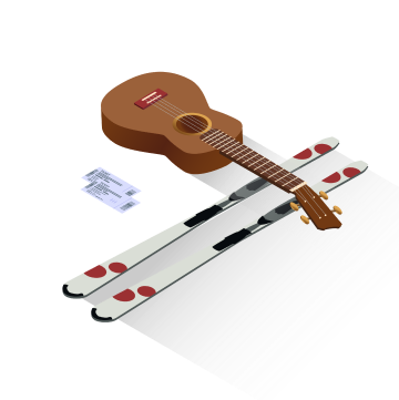 Tickets with guitar and skiis