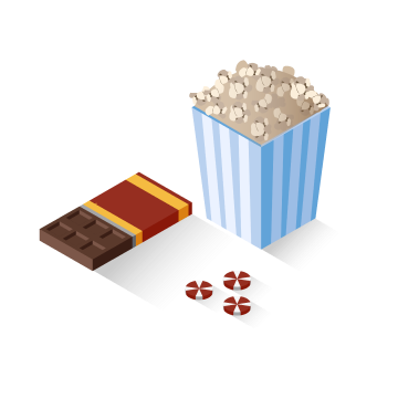 Candy bar with popcorn and peppermint candies
