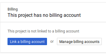 Google Cloud API Project Billing Page with split light grey background