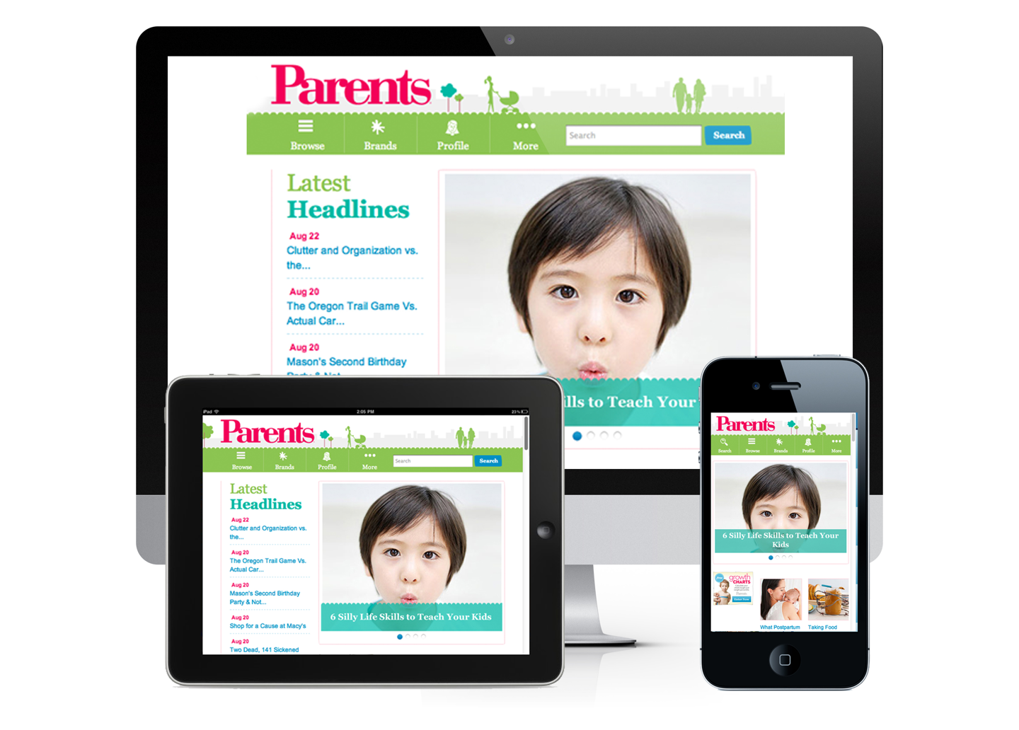 Parent.com website on devices